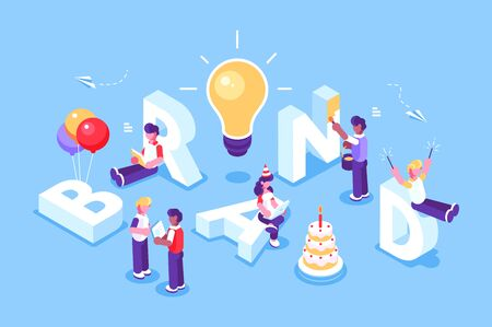 Brand text with employers working on branding design. Flat Isometric people illustration isolated. Concept businessmen work for building letter BRAND. Ideas, startup, office, creative, web page Ilustracje wektorowe