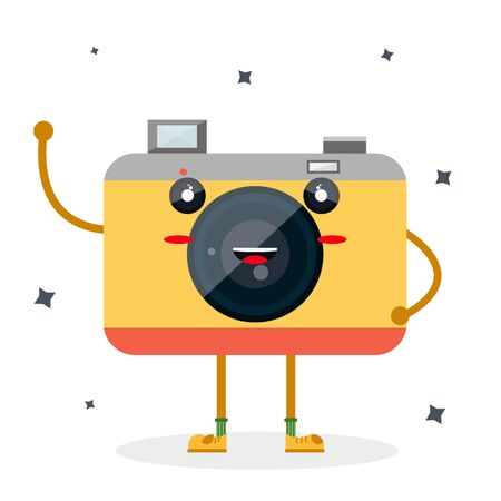 Happy cute smile sweet character with legs handles retro vintage hipster camera for web design, mobile app magazine site. Modern flat style vector illustration icons.  Isolated on white background
