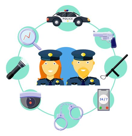 Police work icons preventive measures equipment set around the clock concept. Smile male, female police officers. Police car handcuffs gun phone camera