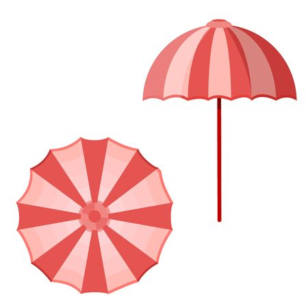 Cute baby girl retro vintage female woman children kids beach umbrella sunshade in pink white color isolated on white. Modern flat cartoon style vector illustration icons. Summer holiday vacation rest