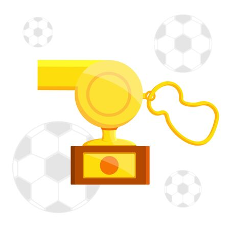 Football soccer sports awards gold golden reward balls, whistle, glove shoe for best top first player coach, referee, team goalkeeper. Pedestal with cup. Modern flat  vector illustration icon on black