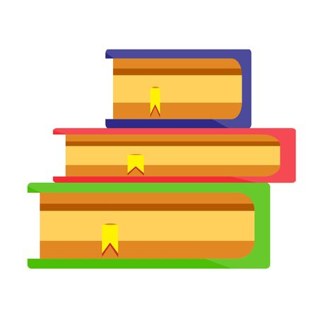 Colored red blue green books in stack with yellow bookmarks. School office supplies, stationery. Modern flat cartoons style vector illustration icons. Isolated on white background.
