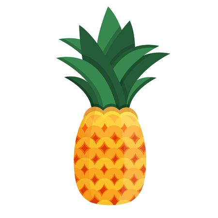 Whole fresh tropical summer fruit pineapple ananas pine for healthy lifestyle. Modern flat cartoons style vector illustration icons. Isolated on white background. Stock Illustratie