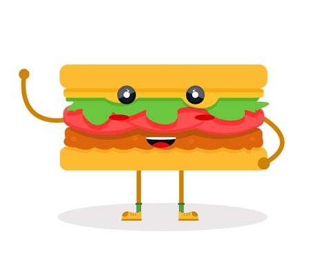 Happy cute smile sweet charcter paper sandwich burger butty with tomato cutlet salad chiken fish concept with handles and legs. Modern flat vector illustration icon. Isolated on white background