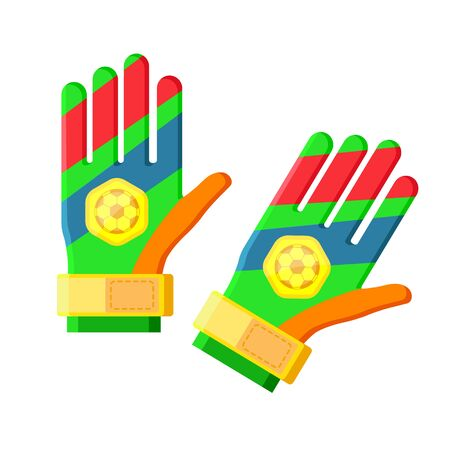 Sports football red green blue futsal soccer colored goalkeeper gloves with ball for playing games, training. Modern flat cartoons style vector illustration icons. Isolated on white background
