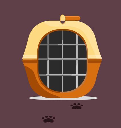 Yellow black brown carrying for animals, dog, cat, pet with tracks. Modern flat style vector illustration icons.