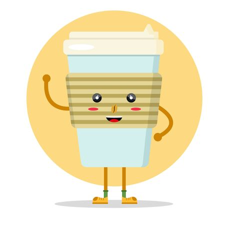 Happy cute smile sweet charcter paper cup coffee to go take away. Modern flat style vector illustration icons. Isolated on white background. Close up take-out fresh coffee cup with brown bean. Ilustración de vector
