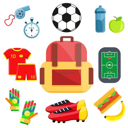 Back to school big set. First day in school. Different school supplies, stationery. illustration icons. Isolated on white. Paint, pencils, notepad, bag, microscope, globe, apple, pen