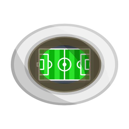 Illuminated bright colorful football, soccer stadium arena view from above top with green field lawn, lined. Modern flat cartoons style vector illustration icons. Isolated on white background