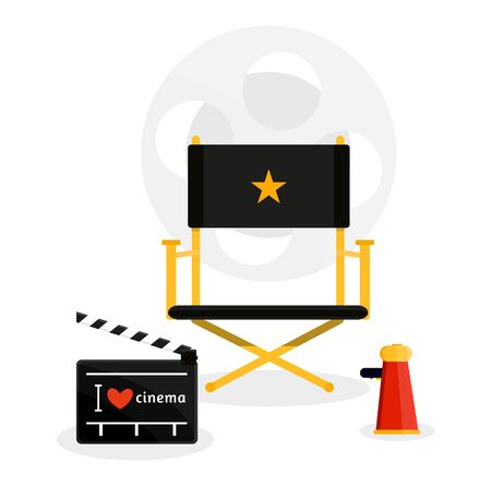 Cinema movie film directors set. Stool movie table megaphone chair retro vintage style poster in red black. Coil strip. Modern flat style vector illustration icons. Isolated on white background.