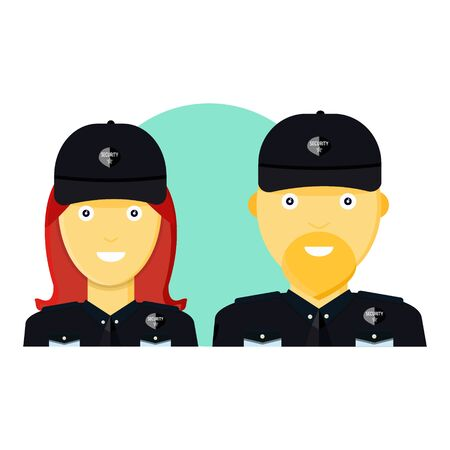 Two young cute, smile male, female security guard protection in black uniform, black cap. Woman, man escort security workers. Modern flat style vector illustration icons. Ilustração