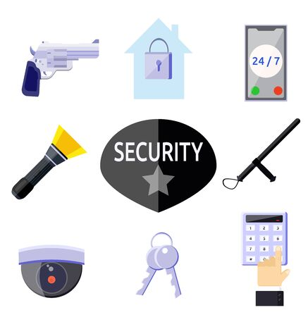 Security work icons preventive measures equipment set around the clock concept. Protection car handcuffs gun phone camera baton badge. Flat vector illustration isolated on white. Protected home.