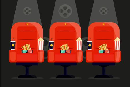 Red cinema movie amchair. Popcorn 3d glases, soda bucket box drink. Cinema night concept. Modern flat style vector illustration icons.
