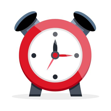 Red black shiny plastic metal alarm clock. School supplies, stationery for study work office, Modern flat cartoons style vector illustration icons. Isolated on white background. Illustration
