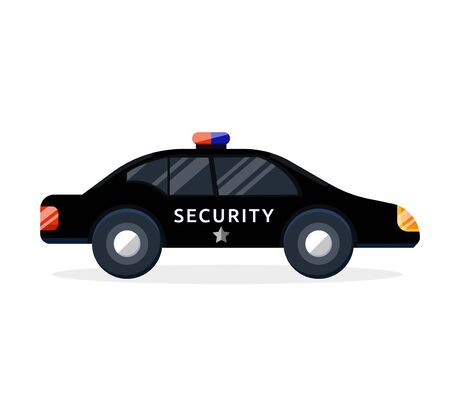 Full black security guard business security car for protection safeguard. Modern flat style vector illustration icons. Illustration