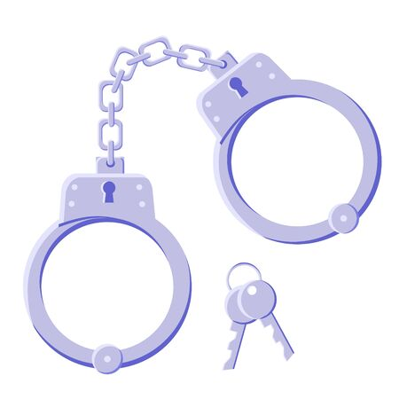 Metal realistic gray handcuffs for detaining criminals with key. Outfit of a policeman. Prison single. Modern flat style vector illustration icons. Isolated on white background. Manacle, bracelets. 일러스트