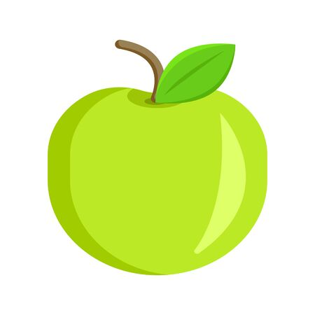Fresh appetite green apple fruit with leaves. Modern flat cartoons style vector illustration icons. Isolated on white background.