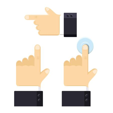 Business realistic hand palm set. Index finger indicates the direction. Forefinger up. Presses the button. Shirt, jacket. Modern flat style vector illustration icons.