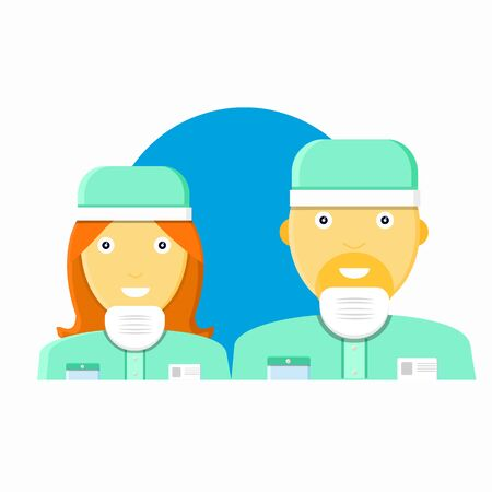 Two young cute, smile male, female dentist in bathrobes, medical cap, medical mask. Woman, man stomatologist, doctor. Modern flat style vector illustration icons.