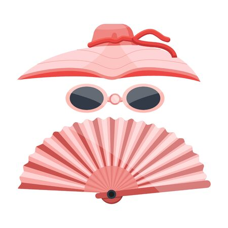 Vintage pink fasion traditional retro girl women madam bonnet, hat, headdress with red stripes front side view. Modern flat vector illustration icon. Isolated on white background. 矢量图像