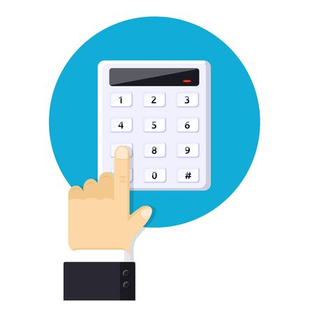 Code entry security device Password house alarm Modern flat style vector illustration icons Isolated on white background Keypad system digital dialer access panel Combination PIN Code on key board