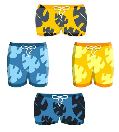 Tropical blue yellow male man boy swimsuit sportswear swimwear trunks with palm leaves beach short set on white. Modern flat style vector illustration icons. Summer holiday pool apparel, sea.
