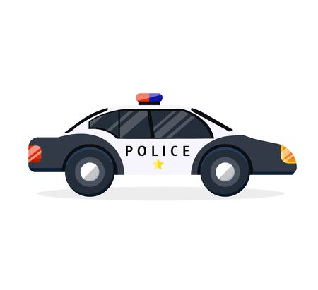 Black white security police car for protection safeguard constabulary force patrol patrolling. Modern flat style vector illustration icons.