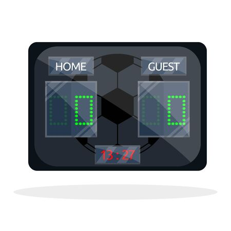 Football realisitic didgital triple full black glass plastic metal sports soccer scoreboard score for match, game, champioship. Modern flat cartoons style vector illustration icons. Isolated on white Illusztráció