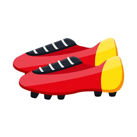Football soccer leather red yellow boots TF Turf, IC IN Indoor Competition, FG Firm, AG Artificial Grass, SG Soft. Modern style flat cartoons vector illustration icons. Isolated on white background 向量圖像
