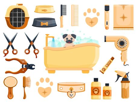 Luxury rich cute wood dark metal vintage retro pet vet grooming dog cat animal beauty saloon shop barbershop hairdressing set concept Modern flat vector illustration icons  イラスト・ベクター素材