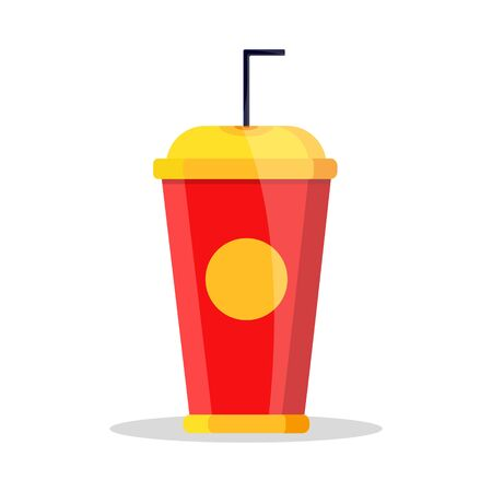 Plastic realistic blue red yellow closed soda. Hot cold drink glass with straw. Modern flat cartoons style vector illustration icons. Isolated on white background. Fast street food take away.