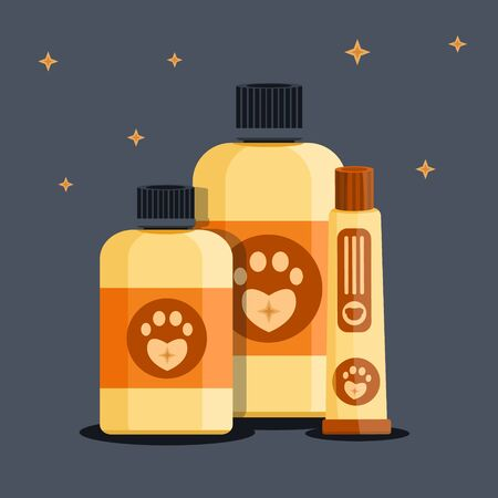 Luxury rich cute biege vintage retro grooming beauty saloon shop dog pet cat animal tracks barbershop shampoo shower gel cream jar tube set  Modern flat vector illustration icon Isolated on black
