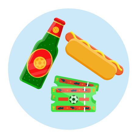 Football soccer fan lover street fast food unhealthy game match set concept. Glass green bottle of beer, two tickets, hot dog, plastic red yellow glass of soda. Modern flat vector illustration icons.
