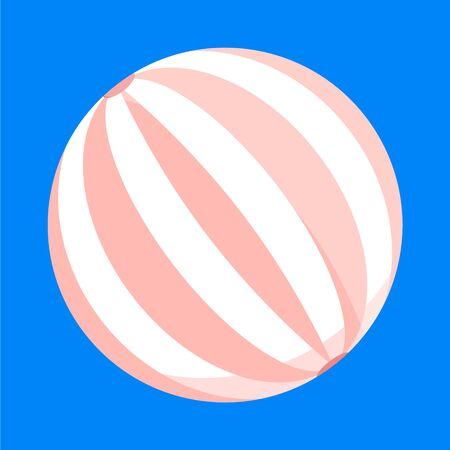 Cute baby girl retro vintage female woman beach ball in pink white colors isolated on blue background. Modern flat cartoon style vector illustration icons. Summer holiday vacation rest concept.