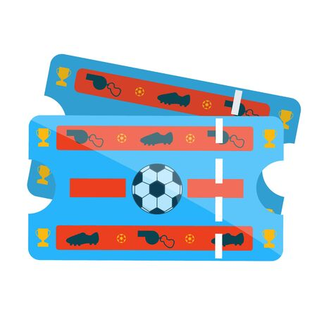 Retro vintage blue plastic paper football soccer tickets for match, game, championship, cup, final. Modern flat cartoons style vector illustration icons. Isolated on white background