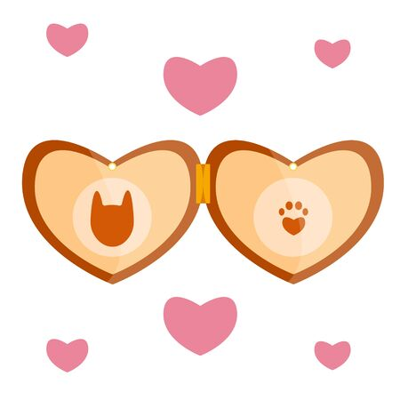 Luxury retro vintage stylized pet vet cat animal dog brown wood gold beige amulet medalion heart locket face muzzle cute pug-dog on the chain Modern flat vector illustration icon Isolated on white