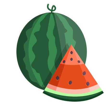 Green fresh tropical summer watermelon fruit with red cut slice and bones, pits. Modern flat cartoons style vector illustration icons. Isolated on white background. Can be use as logo.