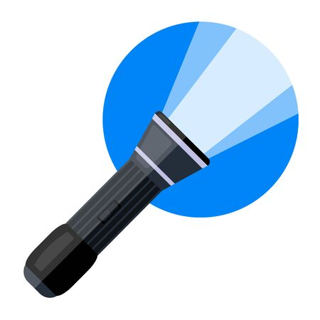 police included flashlight with light on blue circle in cartoon style. Modern flat style vector illustration icons.