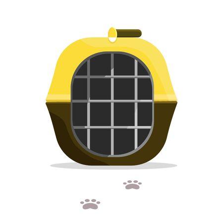 Transport de brun noir jaune pour animaux, chien, chat, animal de compagnie avec pistes. Icônes d'illustration vectorielle de style plat moderne.