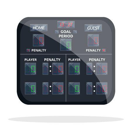 Hockey scoreboard. Sport scoreboard. Flat cartoon style vector illustration icons. Isolated on white. Sport equipment. Hockey, football, tennis scoreboard for game, match, championship. Hockey gear. Stock Illustratie