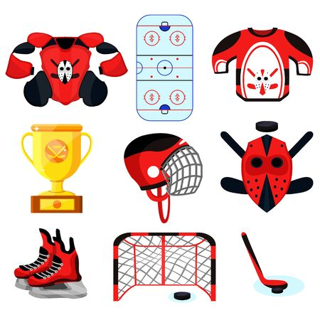 Hockey player set. Modern flat cartoons style vector illustration icons. Isolated on white. Hockey. Foto de archivo - 128941408