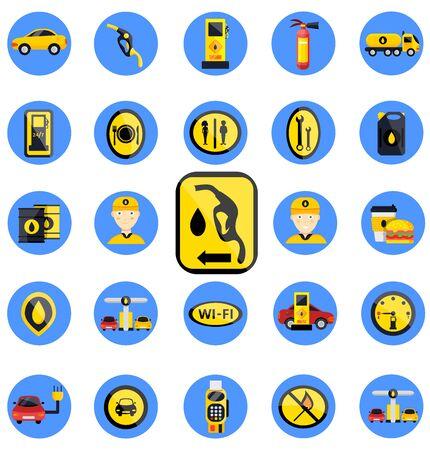 Set di distributori di benzina gas. Icona di illustrazioni vettoriali piatte. Isolato su bianco. Attributi della stazione di servizio: tanica, pompa di benzina, riparazioni auto, fast food, terminale POS, elettro, eco, benzina, lavoratore
