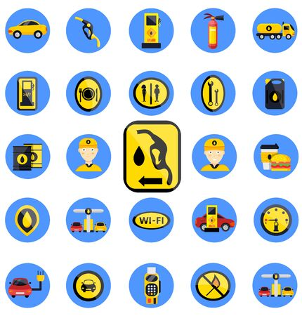 Petrol gas service station set. Flat vector illustrations icon. Isolated on white. Attributes of gas station: canister, petrol pump, car repairs, fast food, POS terminal, electro, eco, benzine, worker Illustration