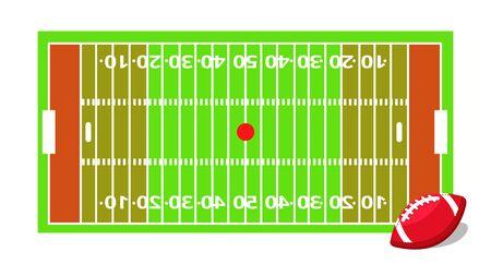 American-Football-Sport-Set. Flache Karikaturen vector Illustrationsikonen auf weißem Hintergrund. Amerikanischer Fußball
