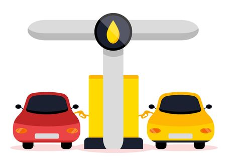 Petrol gas service station set. Flat vector illustrations icon. Isolated on white. Attributes of gas station