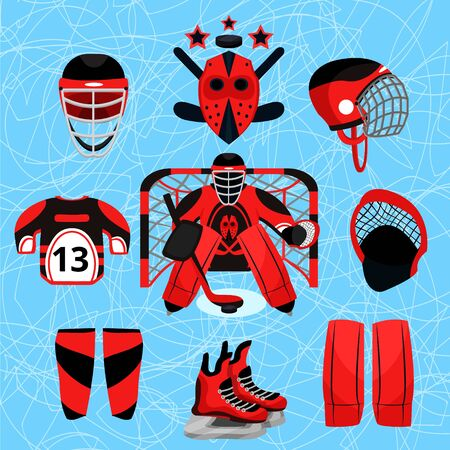 Hockey player set. Modern flat cartoons style vector illustration icons. Isolated on white. Hockey. Hockey equipment. Foto de archivo - 128941880