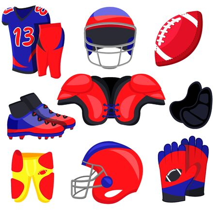 American football sport set. Flat cartoons vector illustration icons on white background. American football: sport gear, helmet, player, field, fan, food, protection, training equipments, referee, cup Ilustração