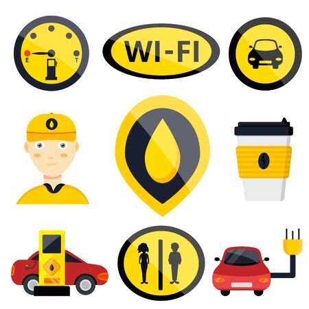 Petrol gas service station set. Flat vector illustrations icon. Isolated on white. Attributes of gas station: canister, petrol pump, car repairs, fast food, POS terminal, electro, eco, benzine, worker Foto de archivo - 128942563