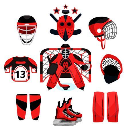 Hockey player set. Modern flat cartoons style vector illustration icons. Isolated on white. Hockey. Hockey equipment. Foto de archivo - 128943142