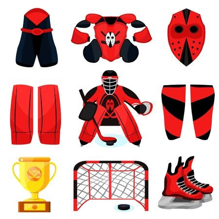 Hockey player set. Modern flat cartoons style vector illustration icons. Isolated on white. Hockey. Hockey equipment. Foto de archivo - 128943144